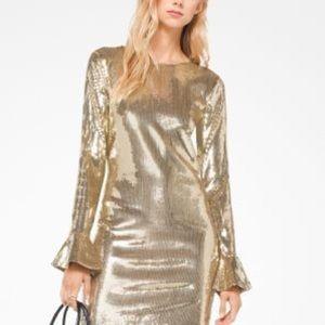 NWT Michael Kors Gold Sequin Bell Sleeve Dress L